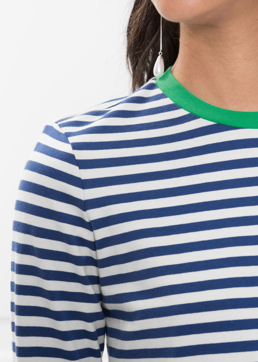 Detailed image of Stories striped long sleeve tee in blue