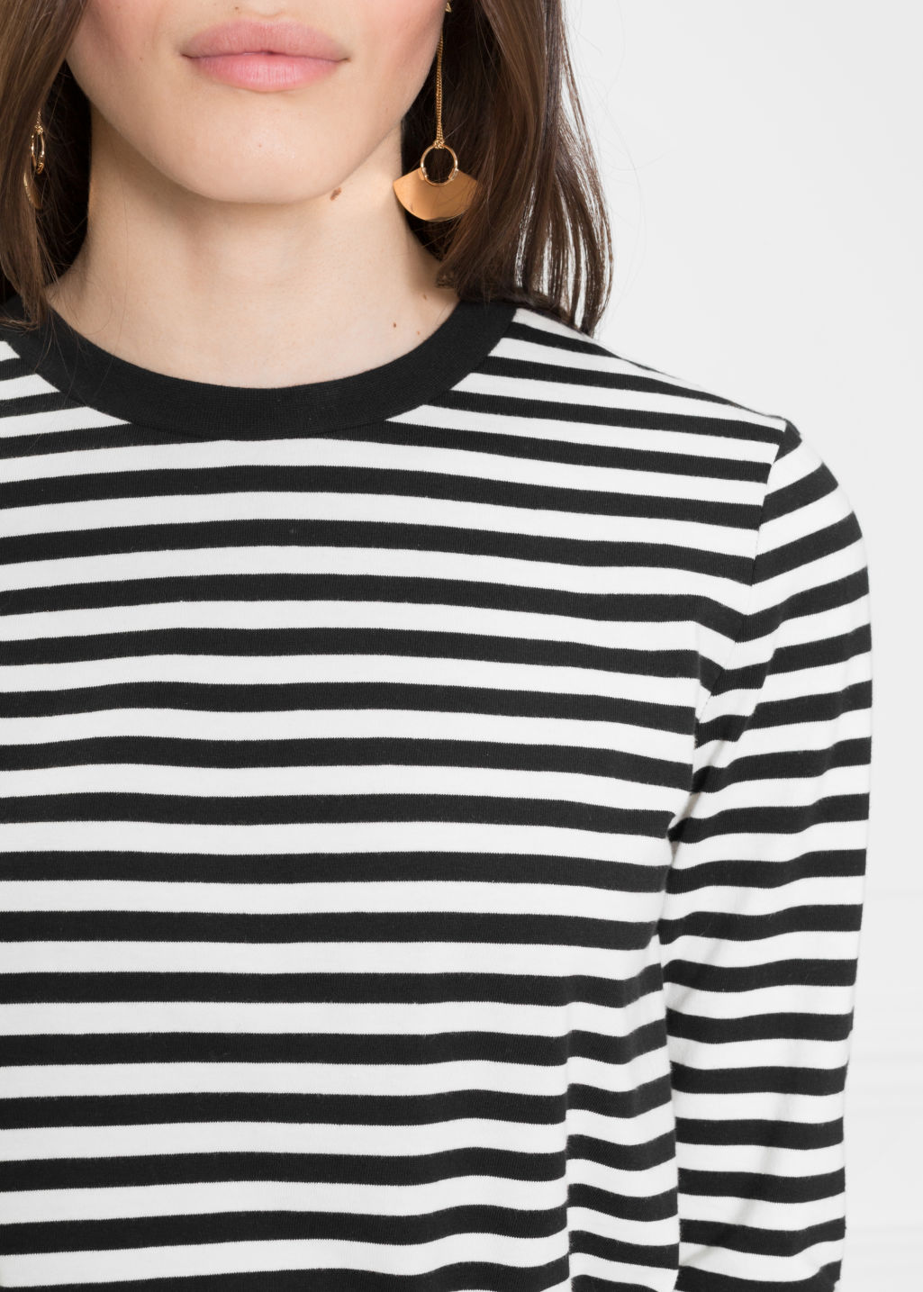 Detailed image of Stories striped long sleeve tee in black