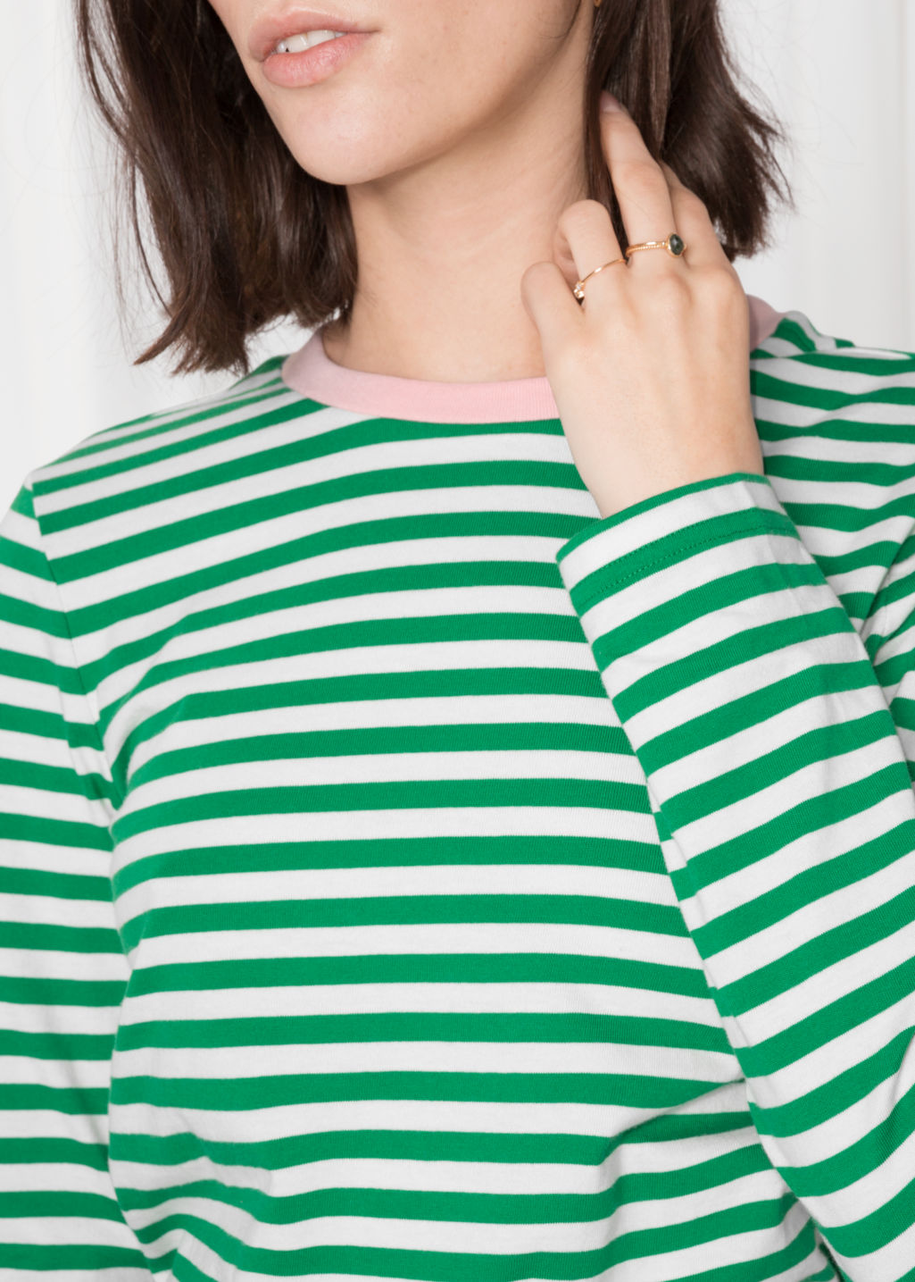 Detailed image of Stories striped long sleeve tee in green