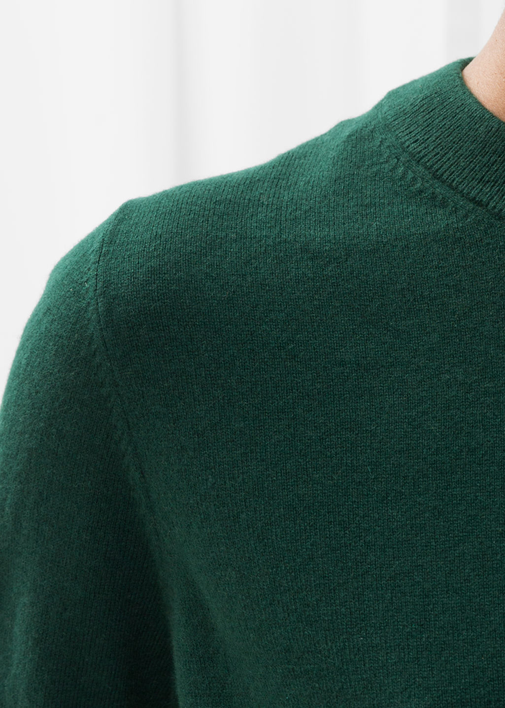 Detailed image of Stories cashmere knit sweater in green
