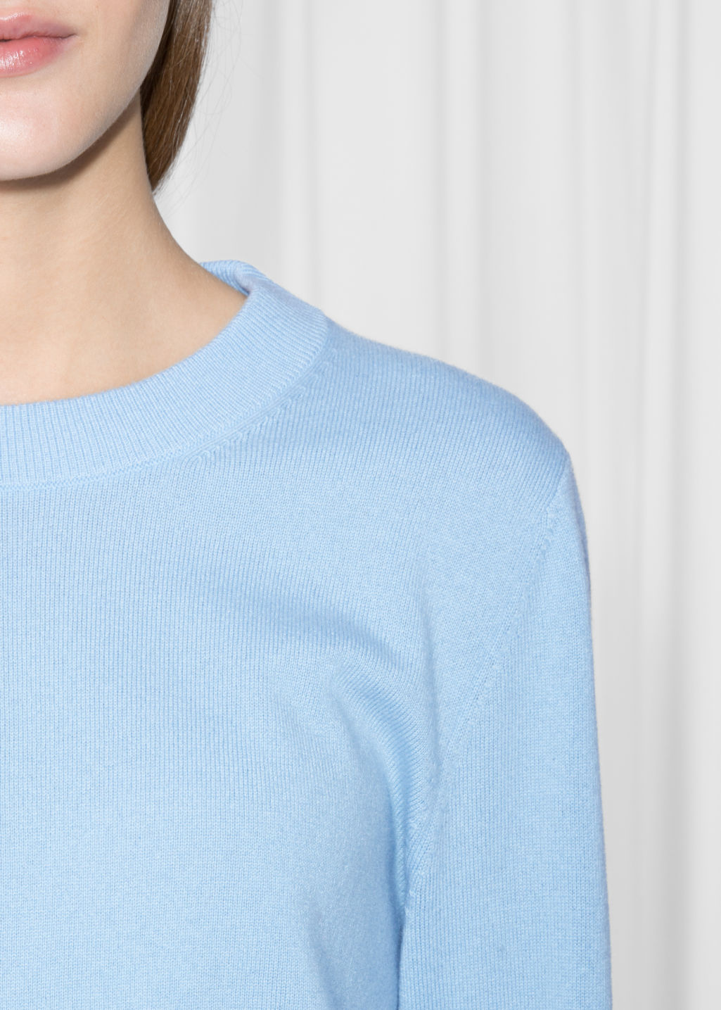 Detailed image of Stories cashmere knit sweater in blue