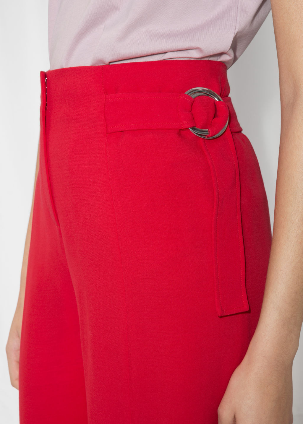 Detailed image of Stories belted suit trousers  in red