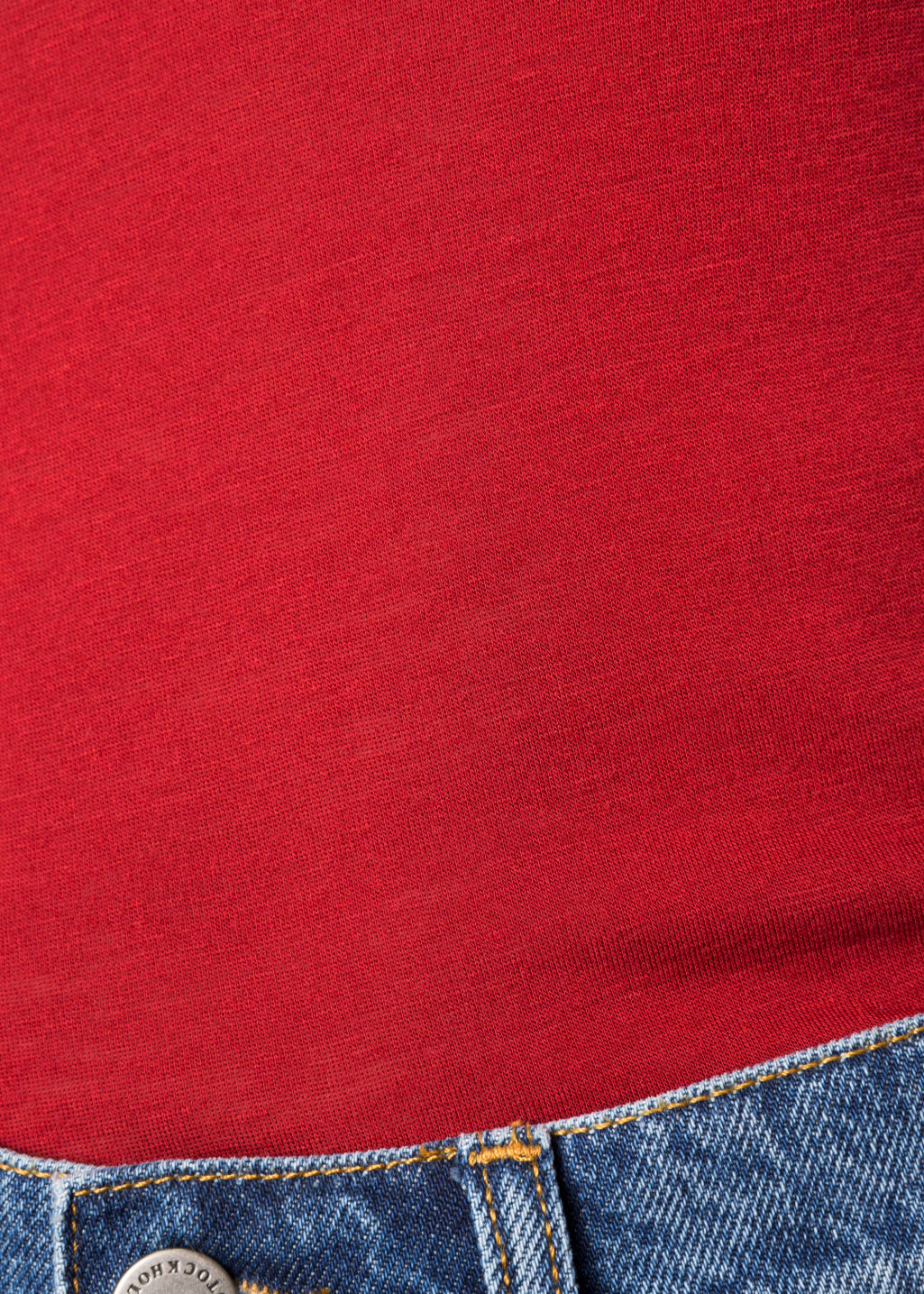 Detailed image of Stories longsleeve wool blend tee in red