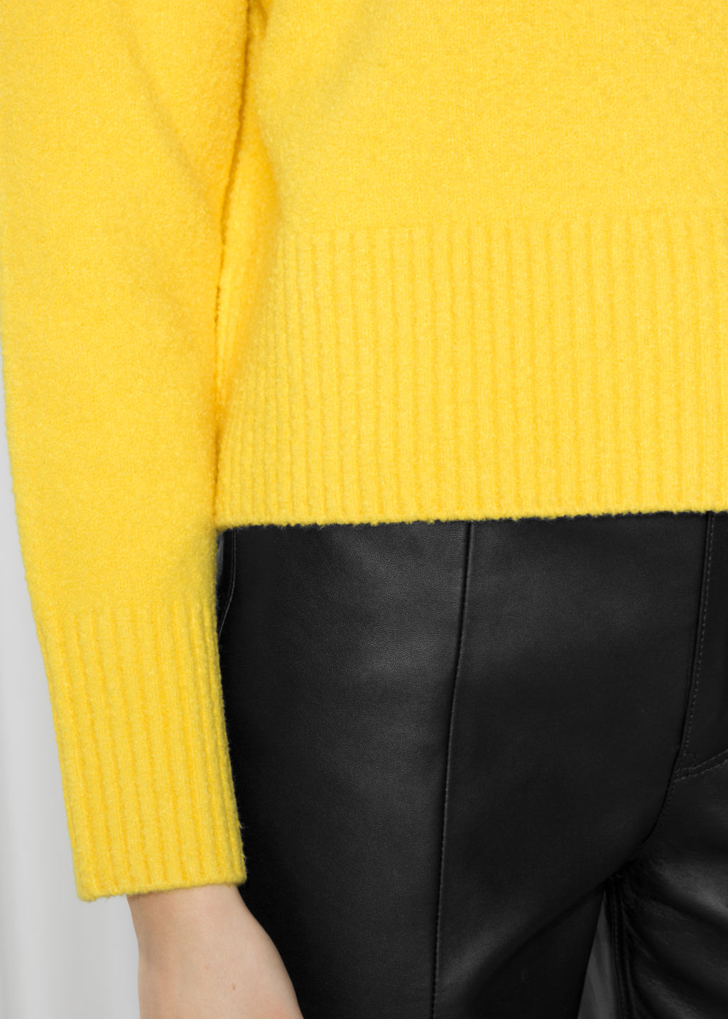 Detailed image of Stories crop sweater in yellow