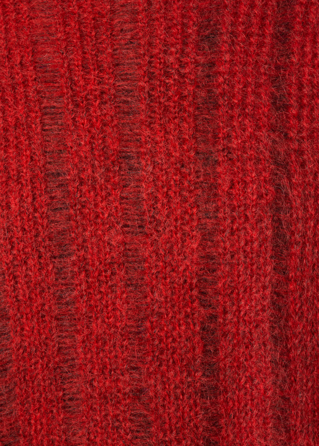 Detailed image of Stories fuzzy mohair & wool knit in red