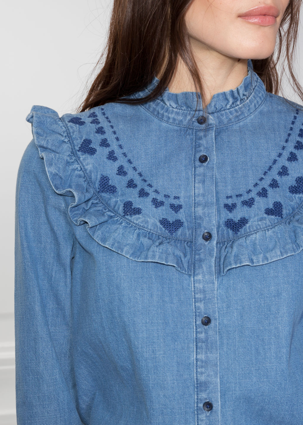 Detailed image of Stories frilled denim blouse  in blue
