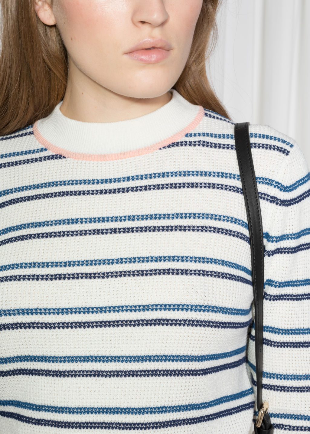 Detailed image of Stories cotton multi-stripe sweater in white