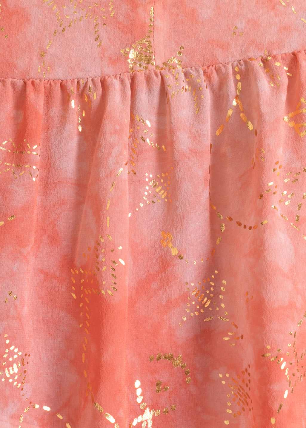 Detailed image of Stories toms gold embossed blouse in orange