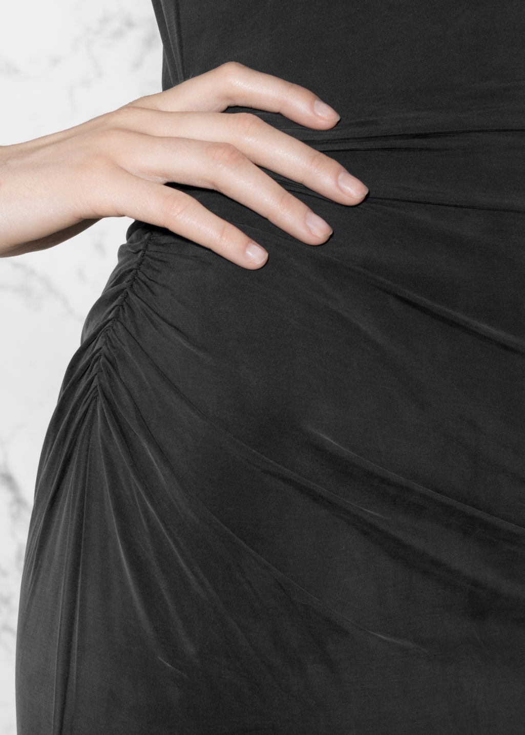 Detailed image of Stories cupro dress in black