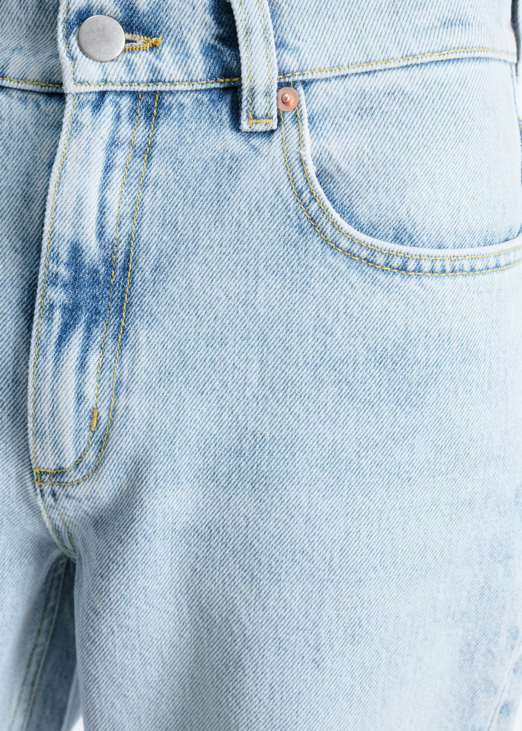 Detailed image of Stories straight fit light wash jeans  in blue