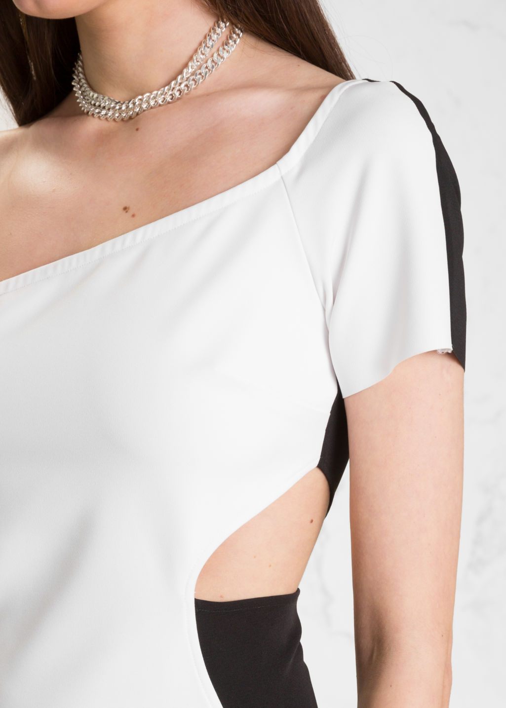Detailed image of Stories one shoulder dress in black