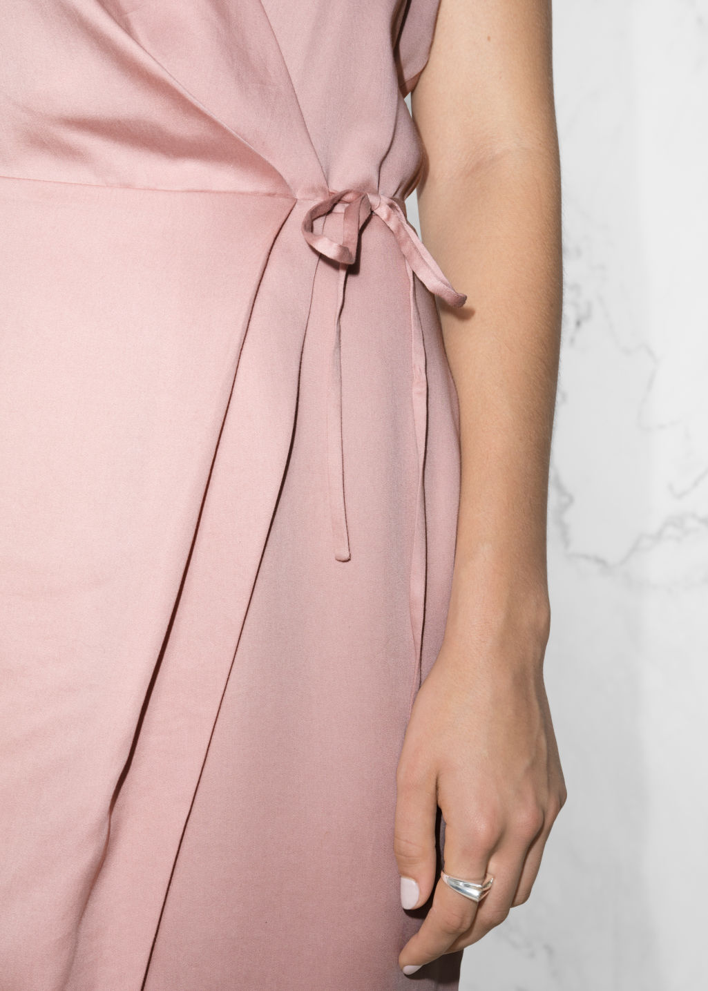 Detailed image of Stories wrap dress in pink
