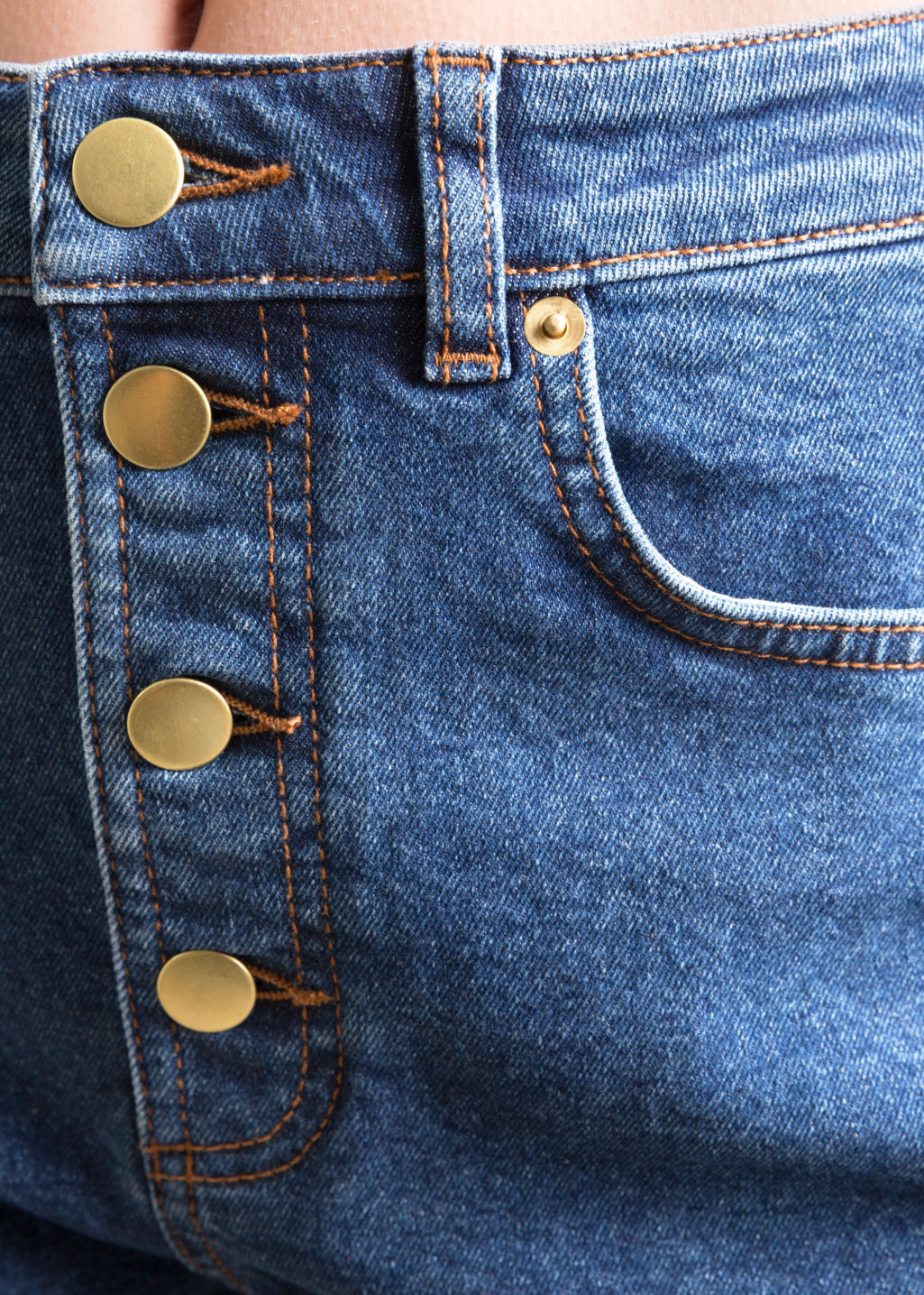 Detailed image of Stories button-down denim shorts in blue