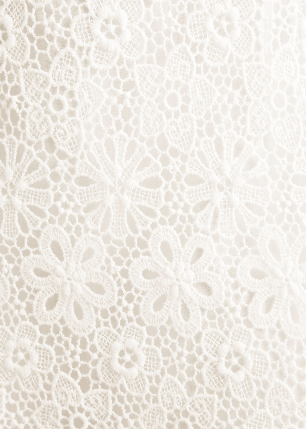 Detailed image of Stories floral lace dress in white