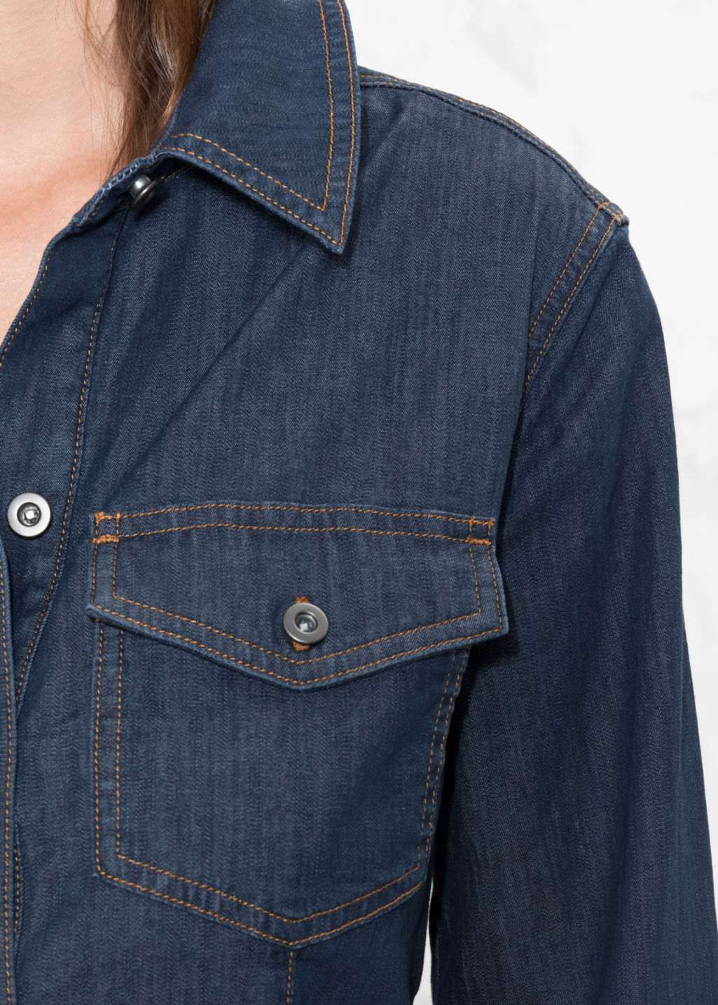 Detailed image of Stories slim fit denim shirt in blue
