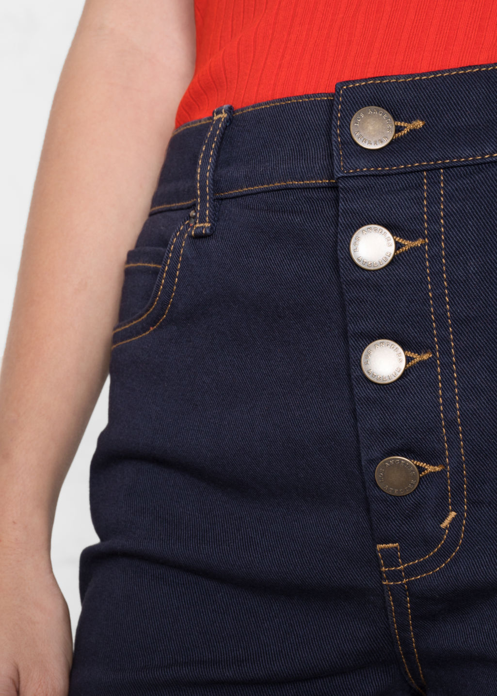 Detailed image of Stories crop denim jeans in blue