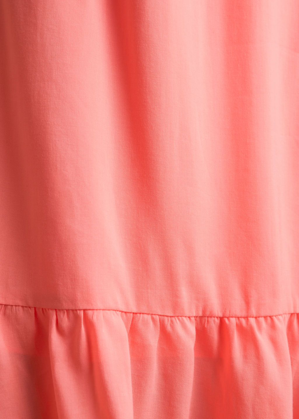 Detailed image of Stories billowy off-shoulder dress in orange