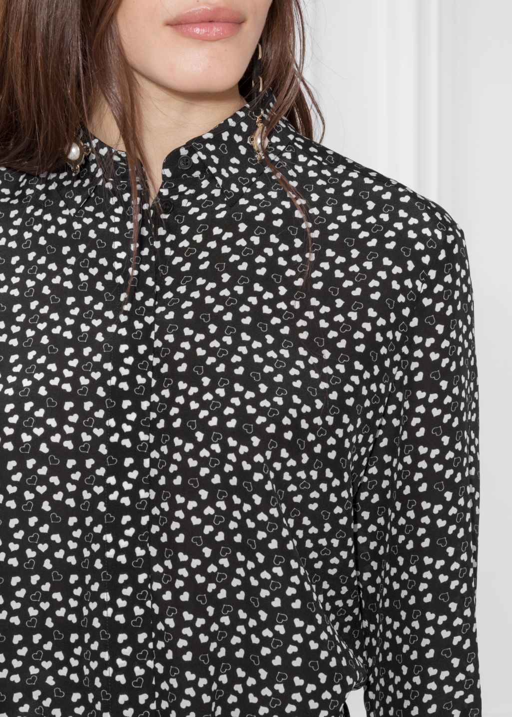 Detailed image of Stories collared silk shirt in black
