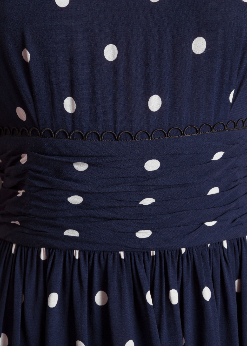 Detailed image of Stories dotted dress in blue