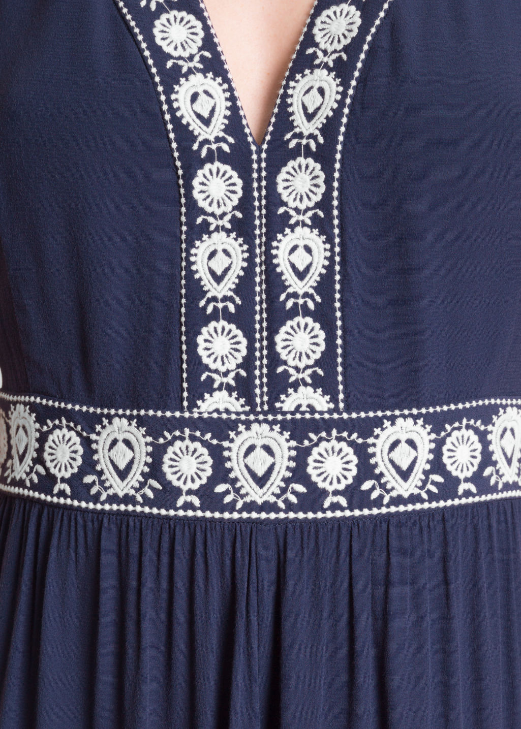 Detailed image of Stories embroidery maxi dress in blue