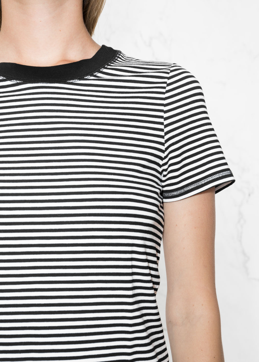 Detailed image of Stories stripe top in white