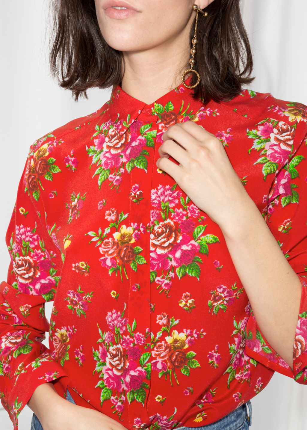 Detailed image of Stories silk shirt in red