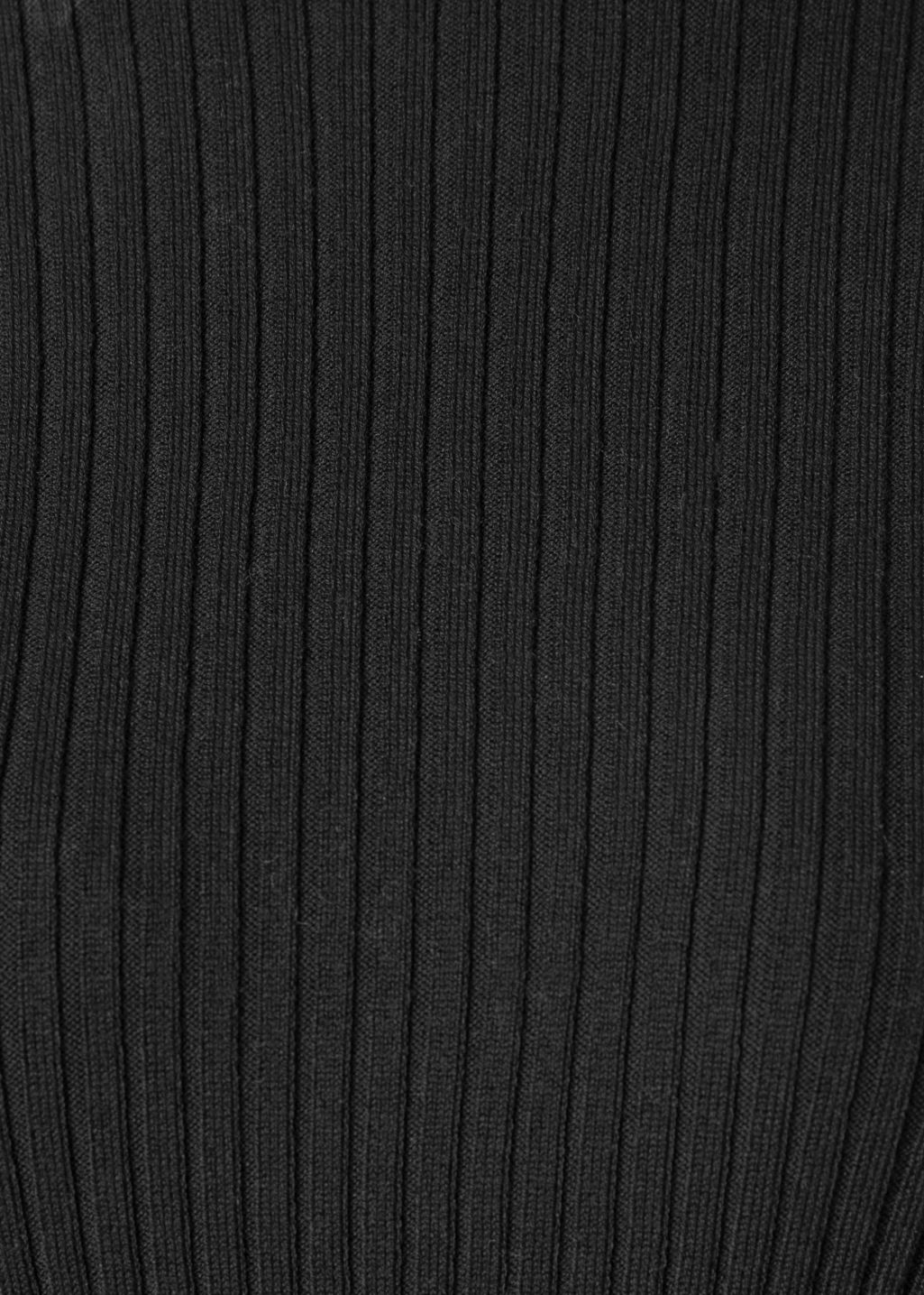 Detailed image of Stories ruffles and ribbed turtleneck in black