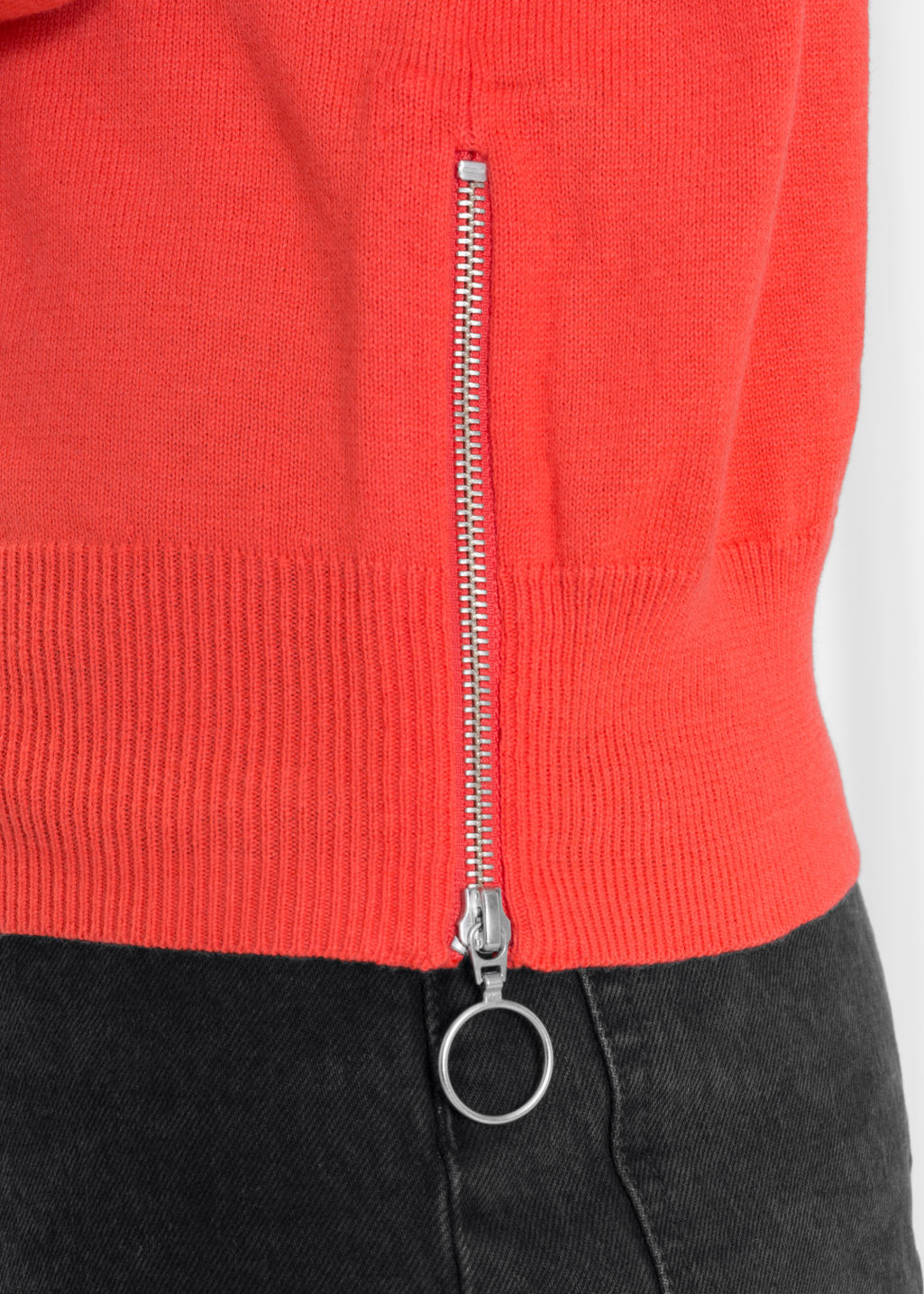 Detailed image of Stories zip hip sweater in red