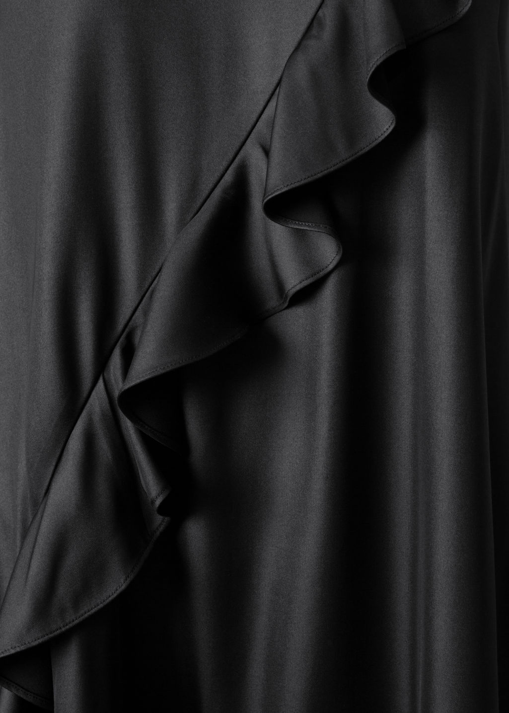 Detailed image of Stories satin frill dress in black