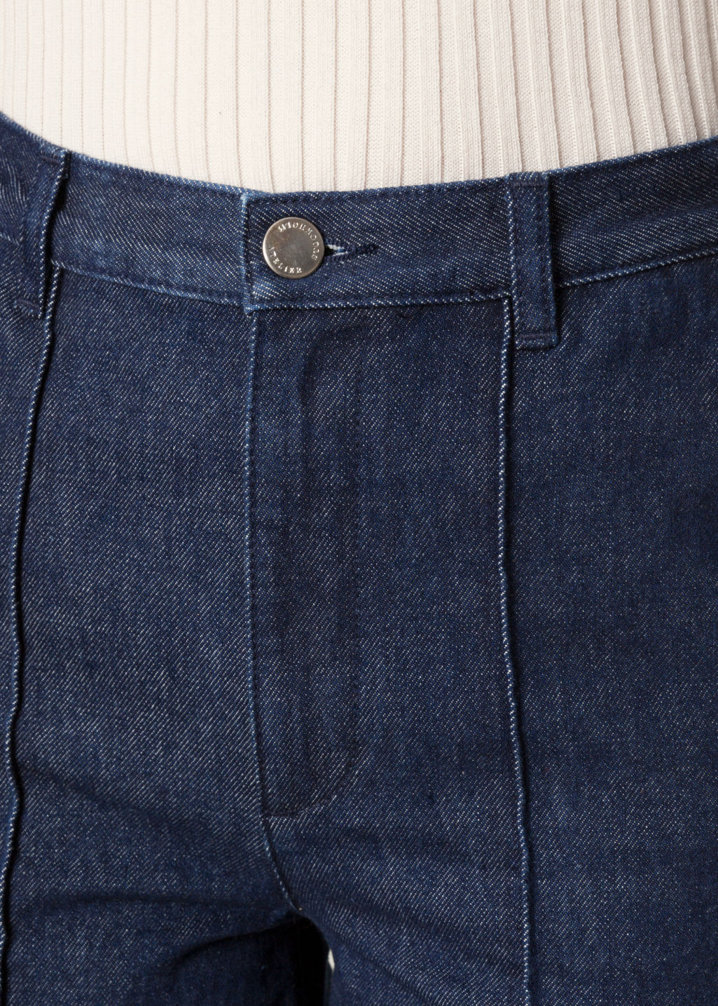 Detailed image of Stories flare denim trousers in blue