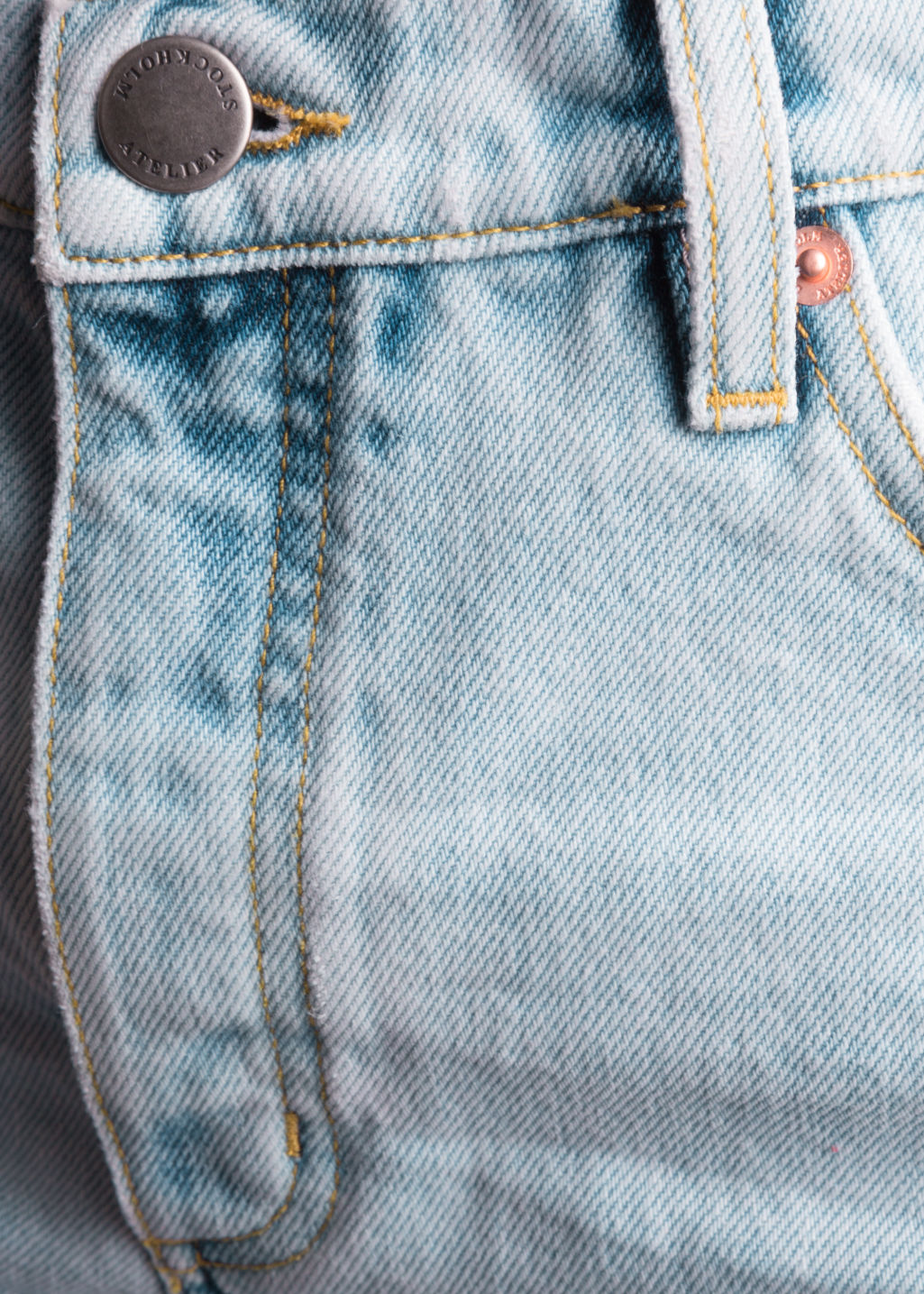 Detailed image of Stories denim mini shorts in blue