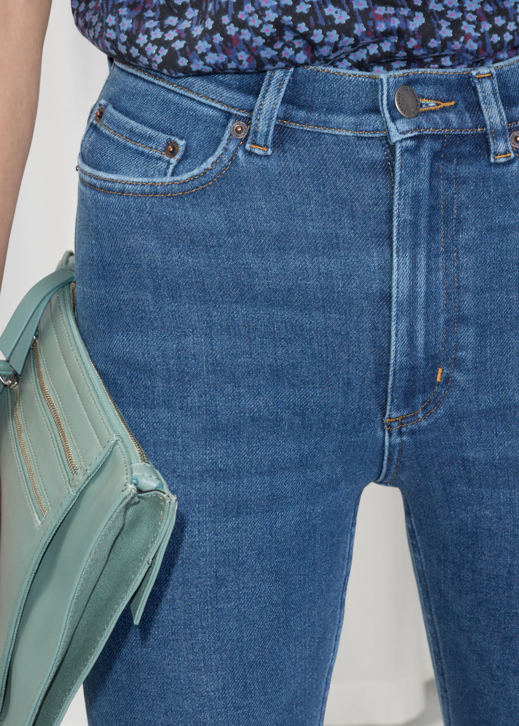 Detailed image of Stories high-waist denim jeans in blue