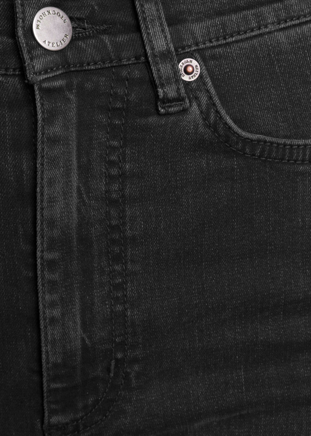 Detailed image of Stories high-waist denim jeans in grey