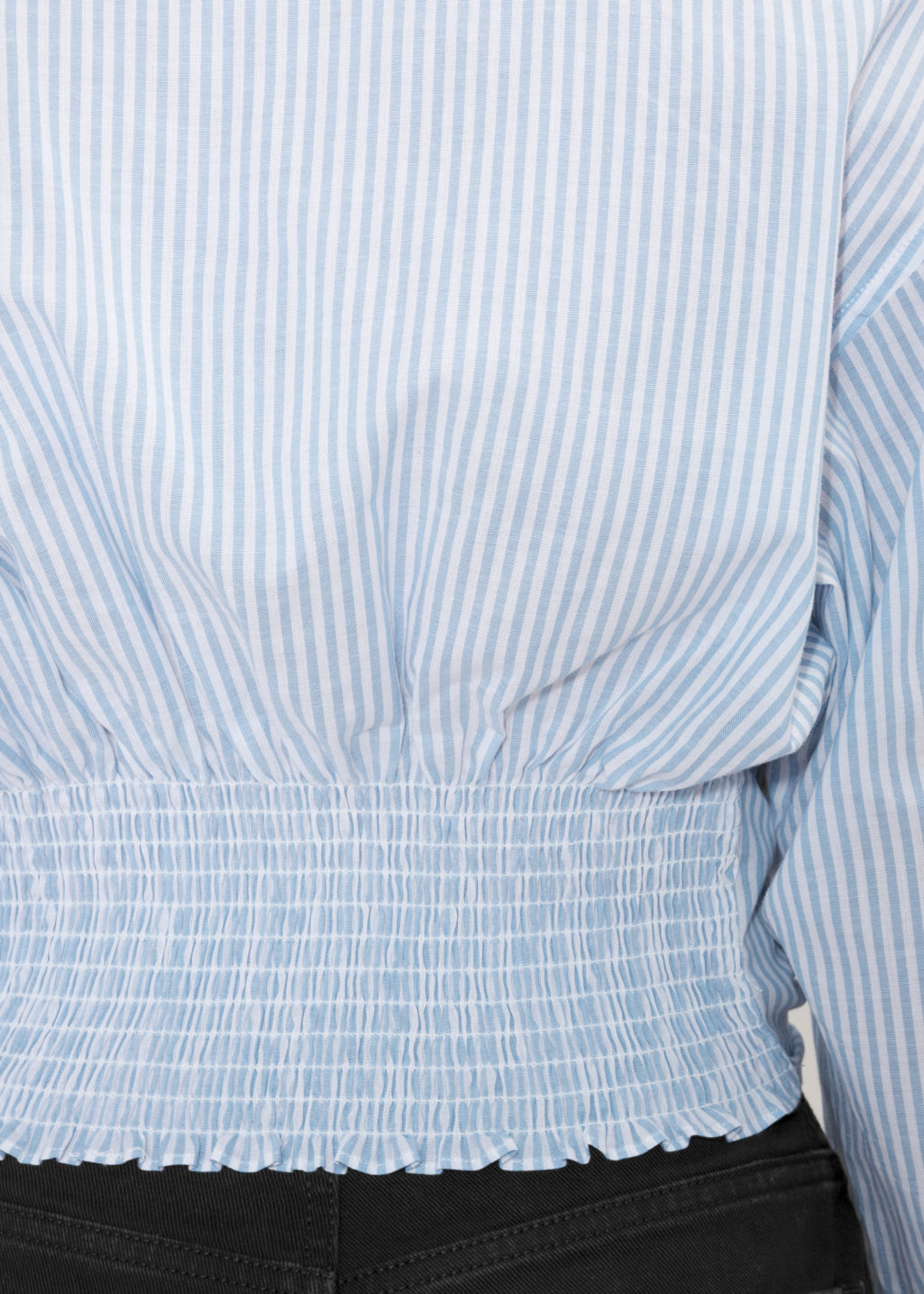 Detailed image of Stories tie blouse in blue
