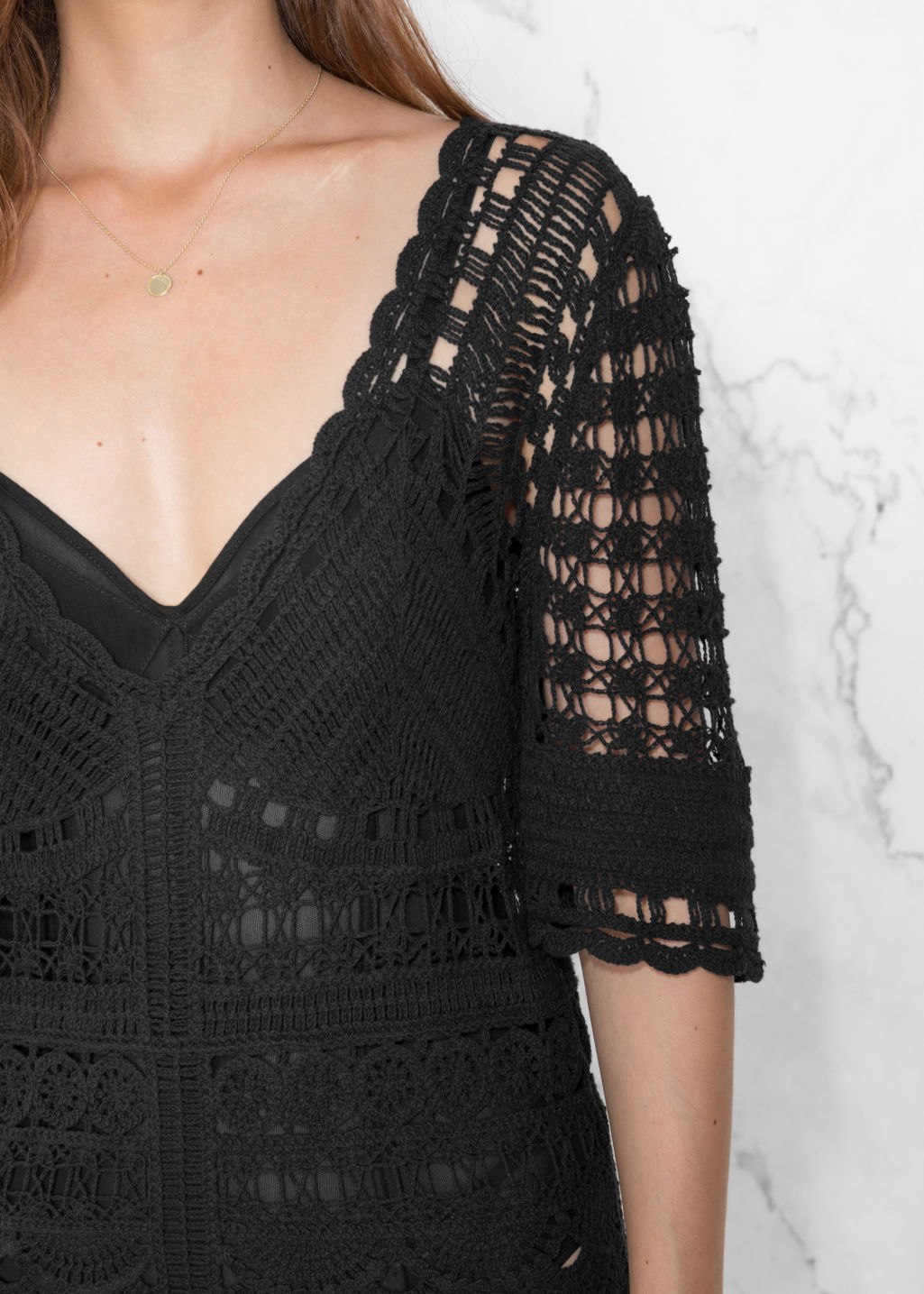 Detailed image of Stories crochet dress in black