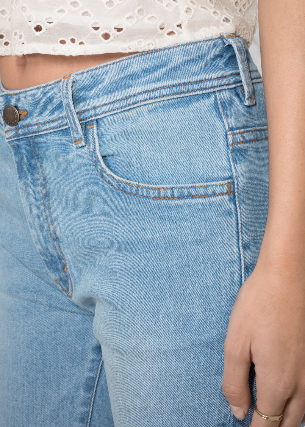 Detailed image of Stories stretch denim jeans in blue