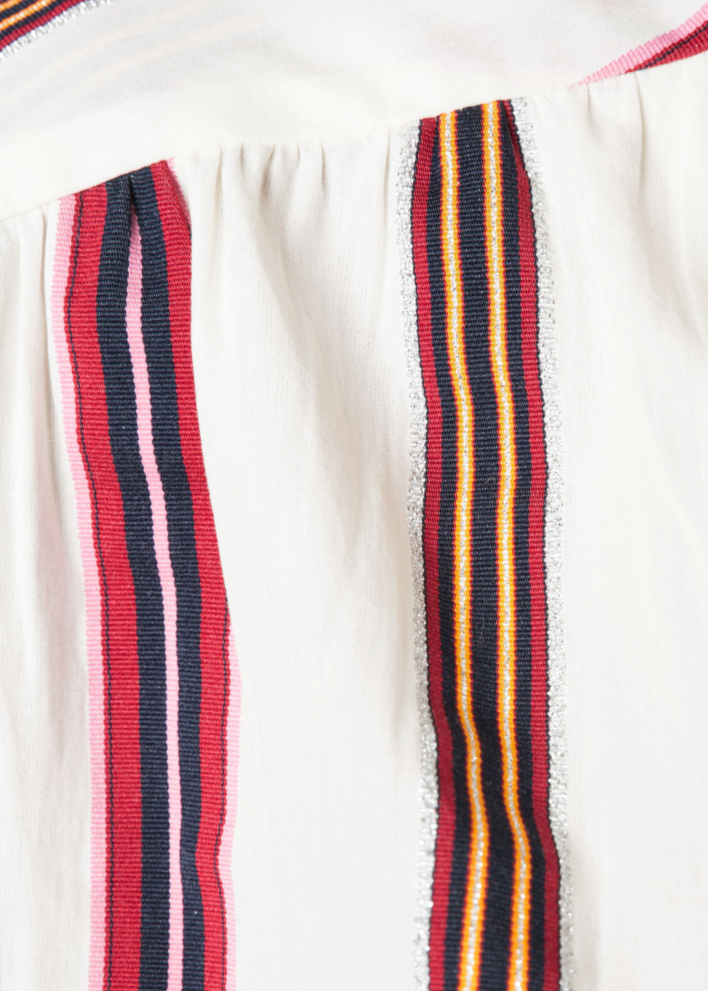 Detailed image of Stories stripe silk skirt in white