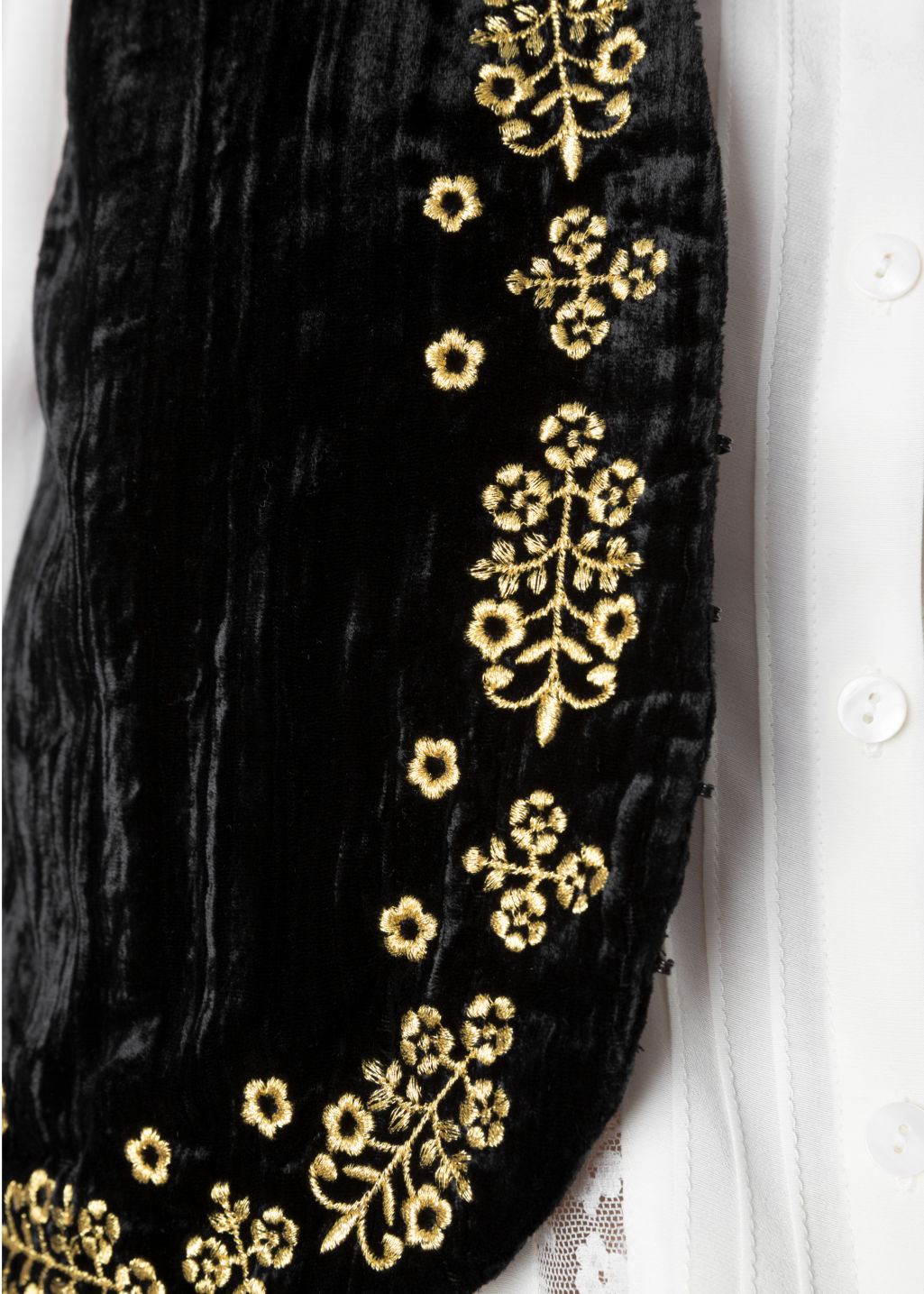 Detailed image of Stories velveteen vest in black