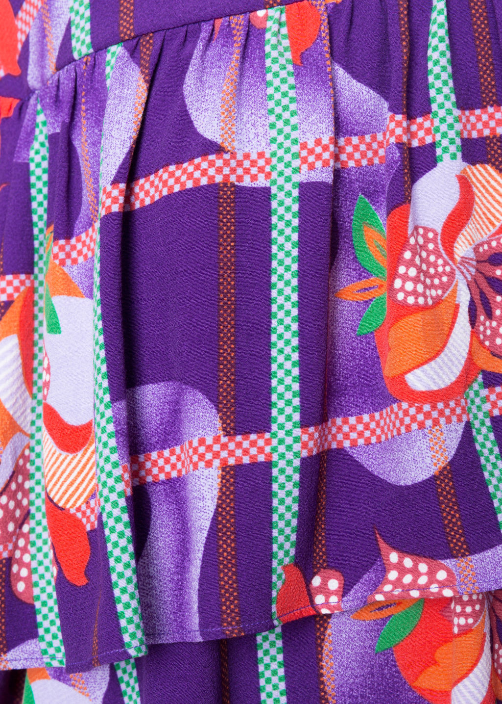 Detailed image of Stories fruity print dress in purple