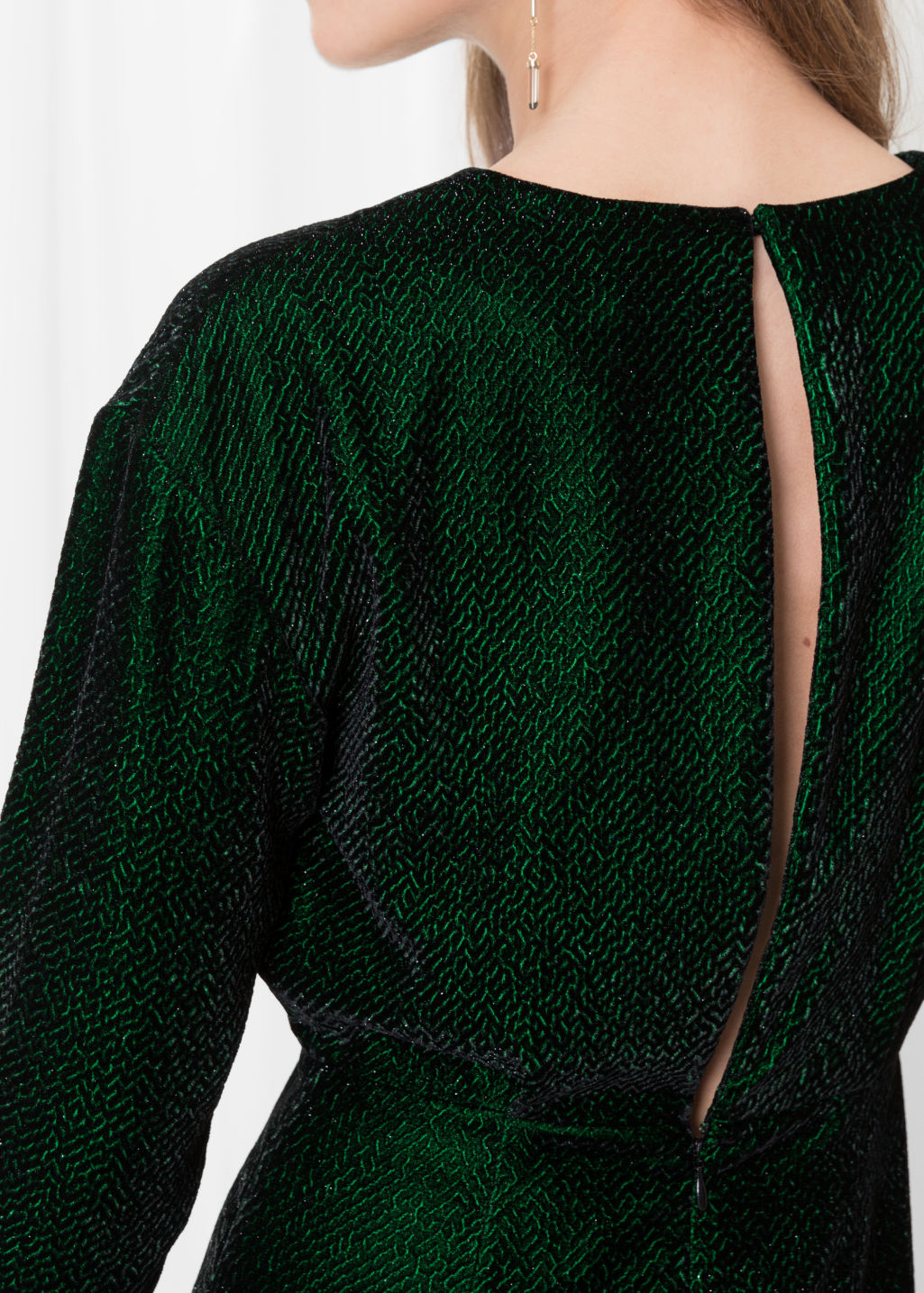 Detailed image of Stories slit back dress in green