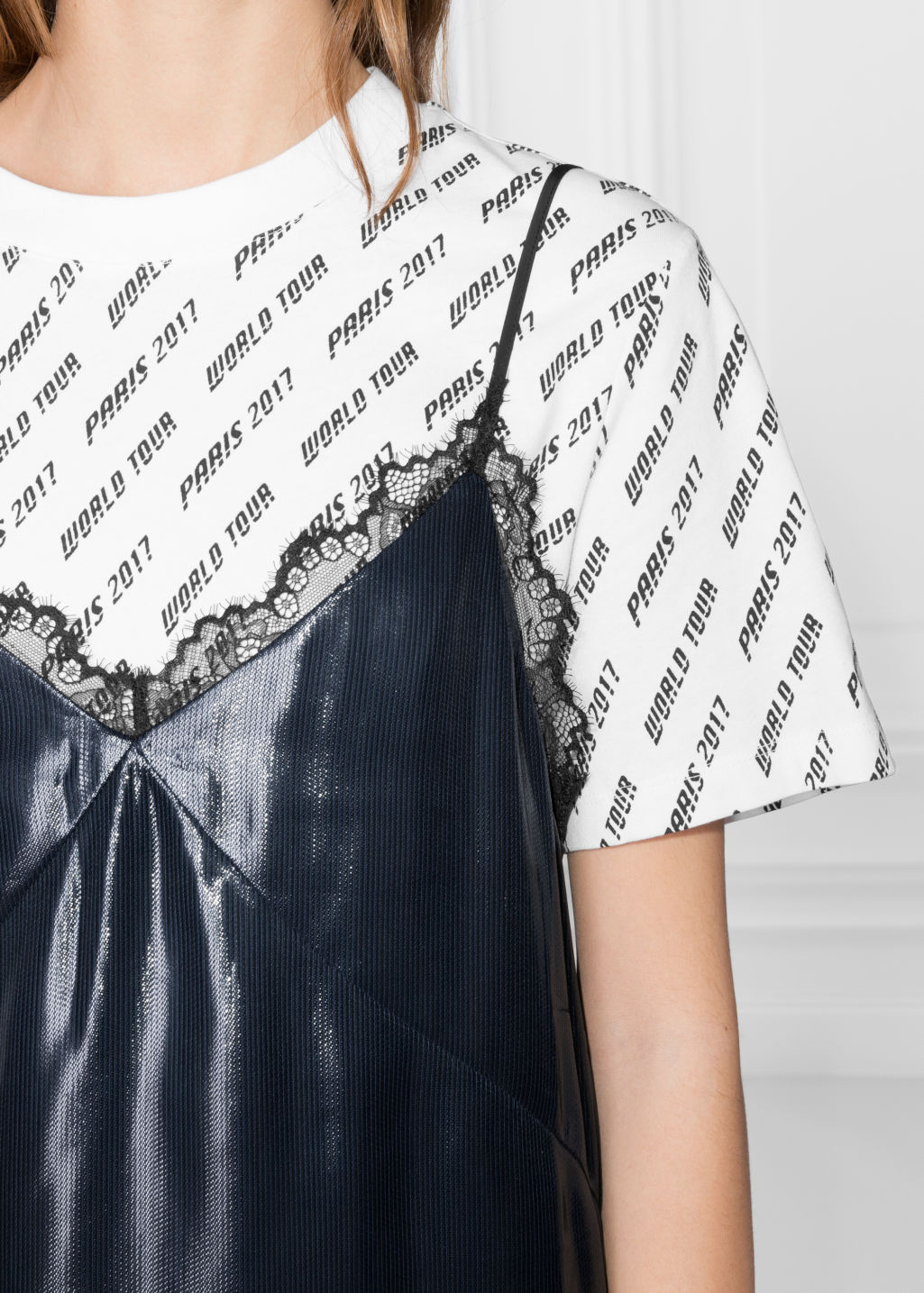 Detailed image of Stories lamé slip dress in blue