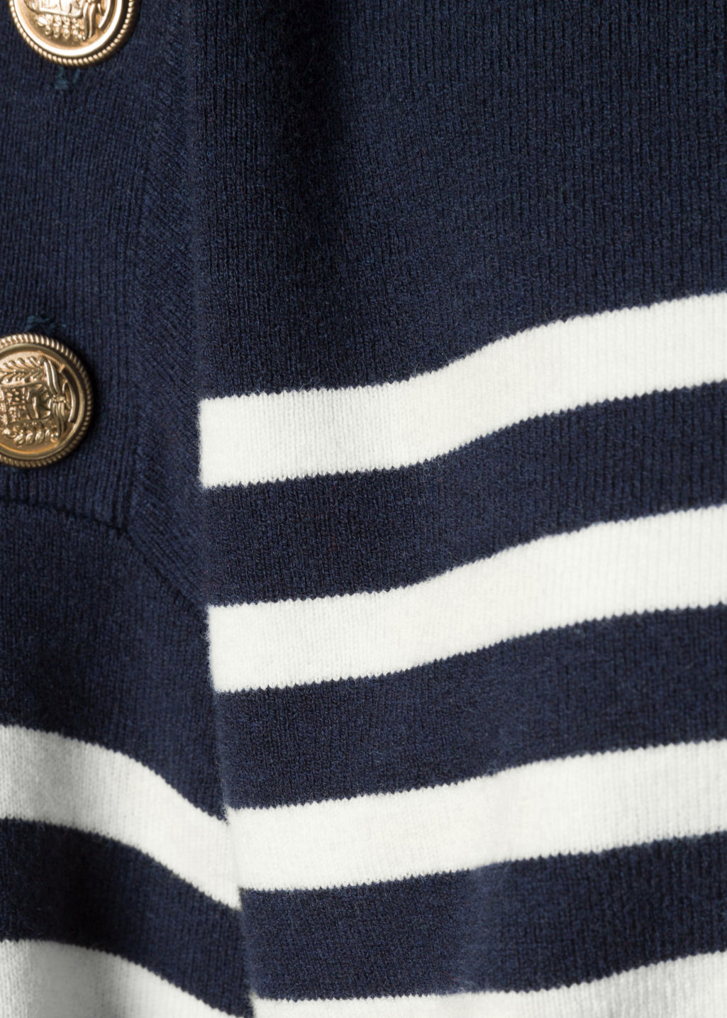 Detailed image of Stories stripe knit sweater in blue