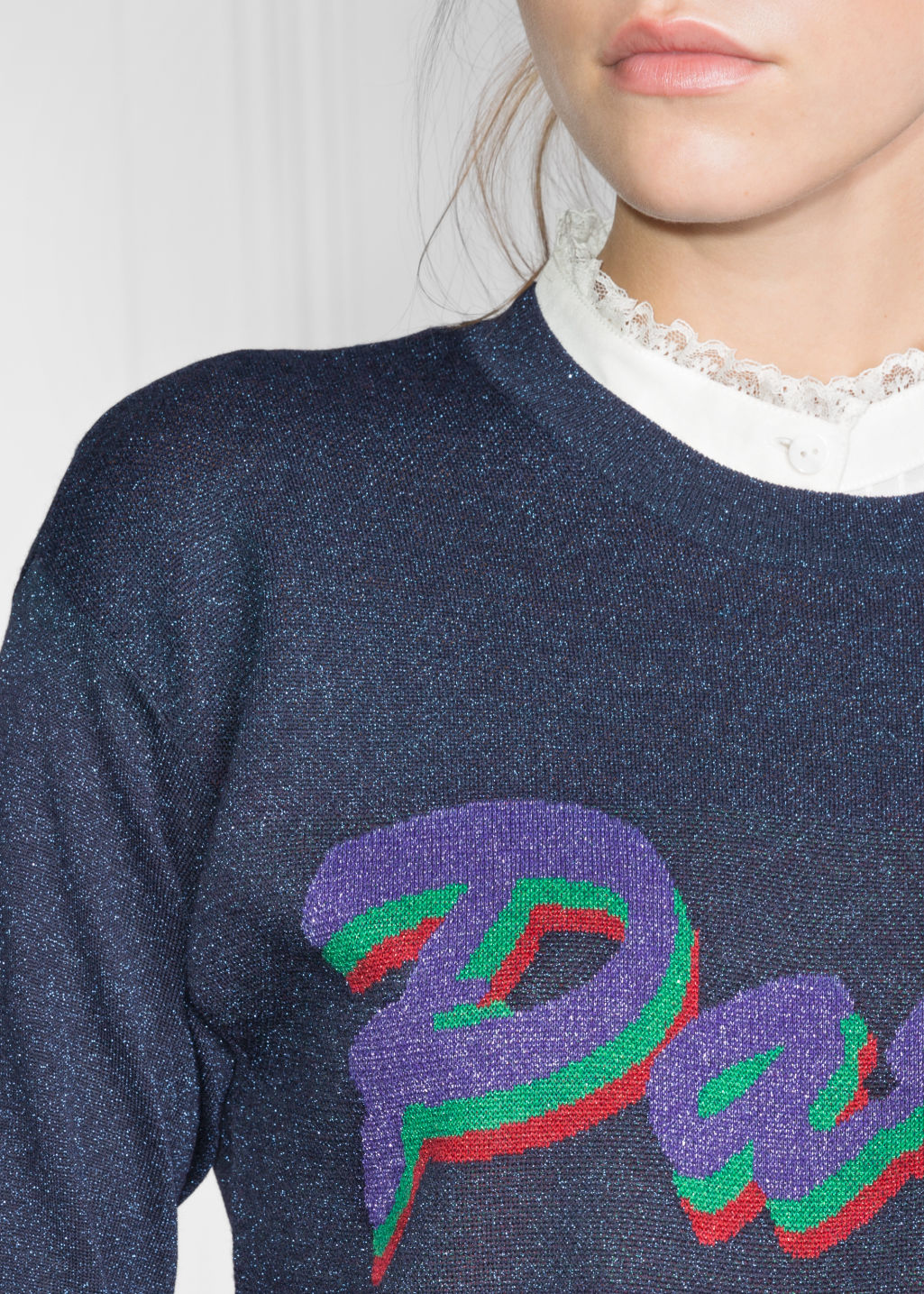 Detailed image of Stories glitter paris sweater in blue