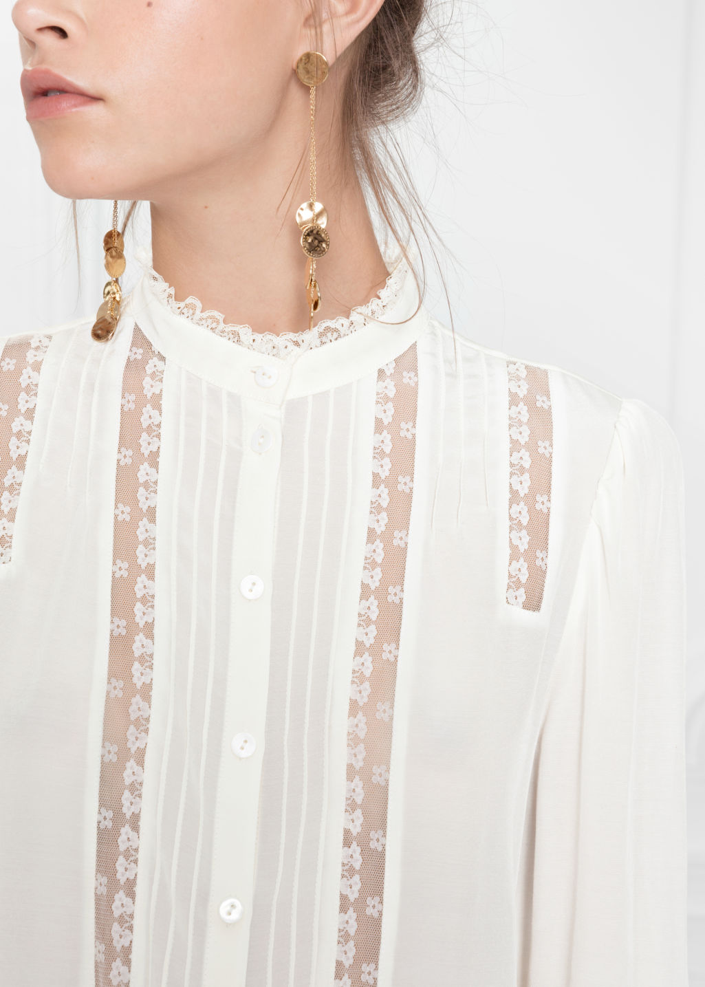 Detailed image of Stories lace panel blouse in white
