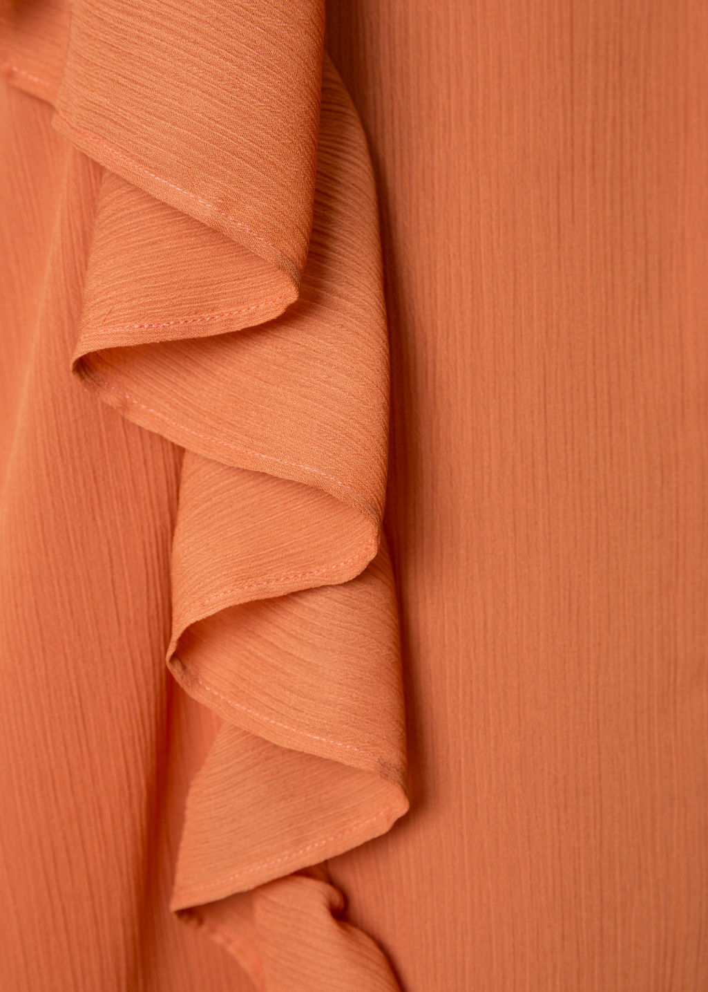 Detailed image of Stories oversized frill dress in orange