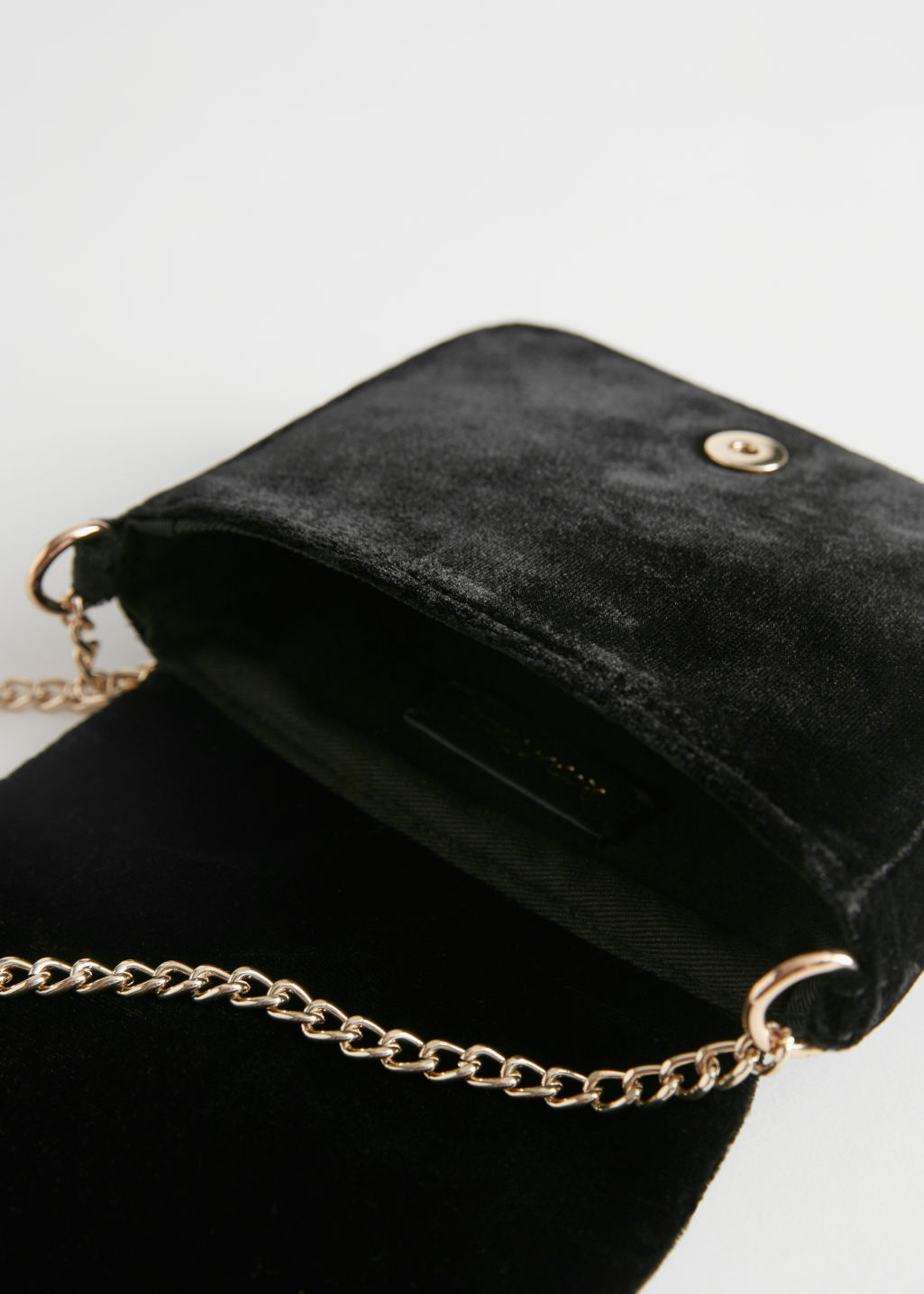 Detailed image of Stories beaded velvet crossbody bag in black