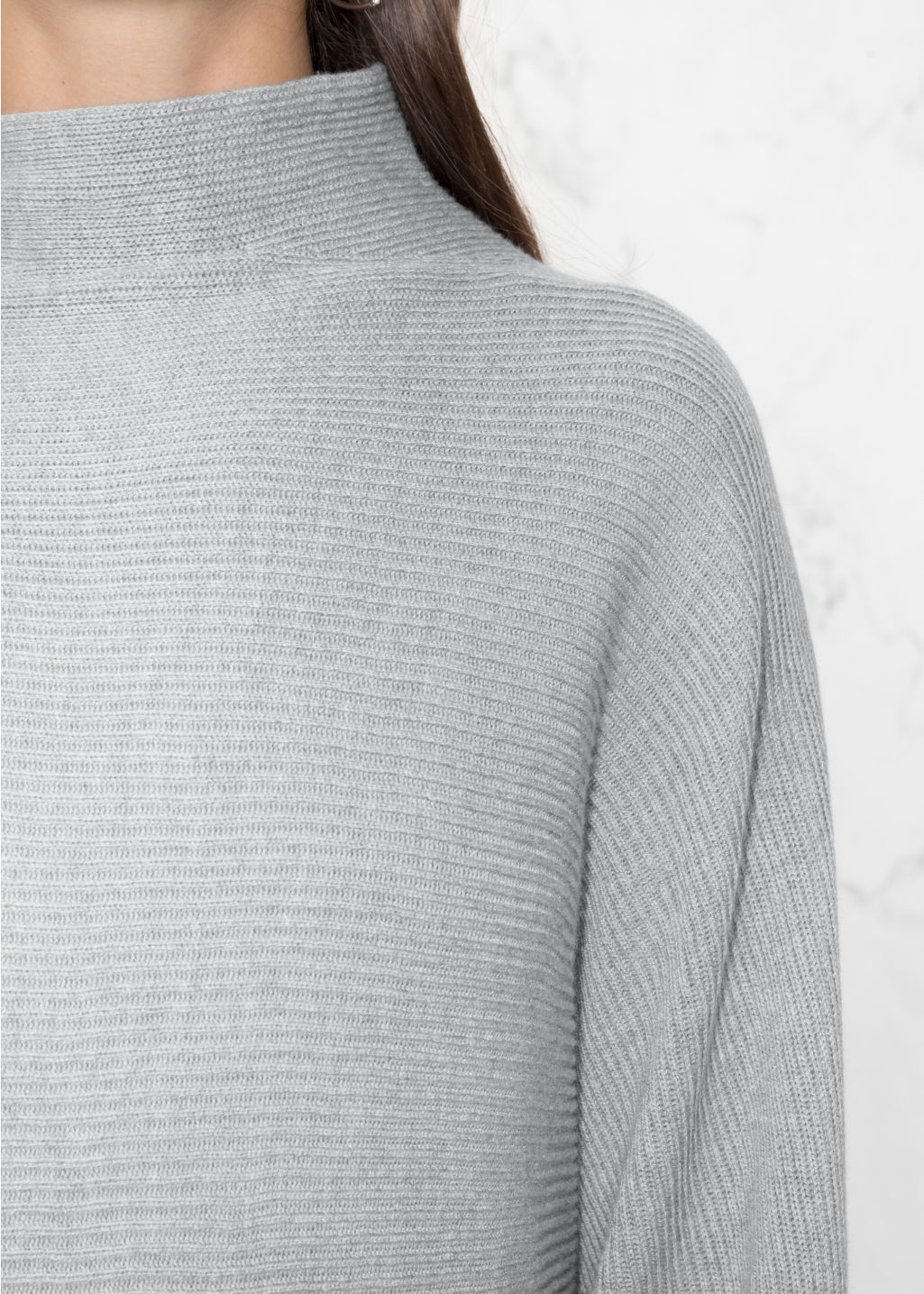 Detailed image of Stories raised neck sweater dress in grey