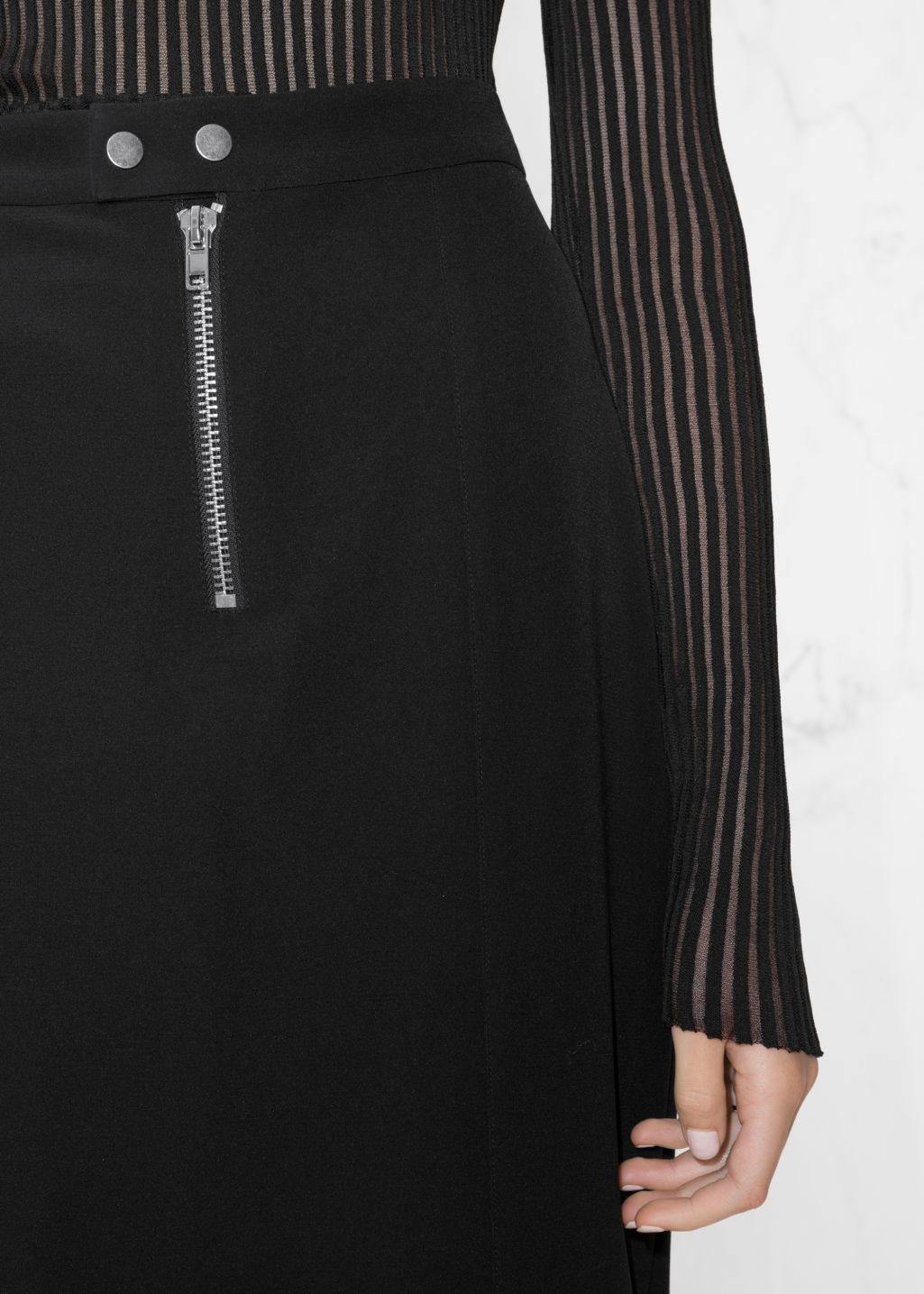 Detailed image of Stories zip pencil skirt in black