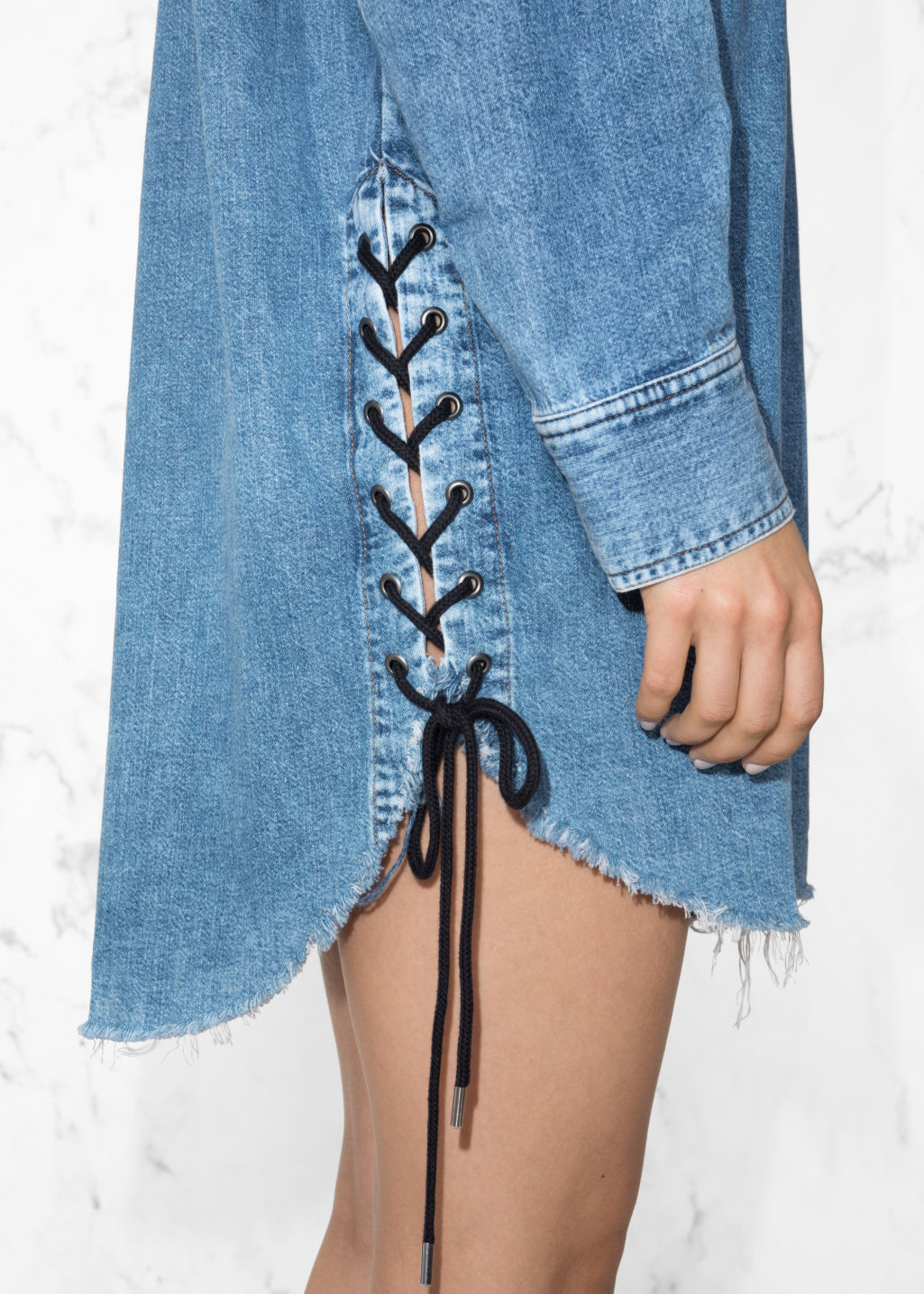 Detailed image of Stories lace-up denim dress in blue