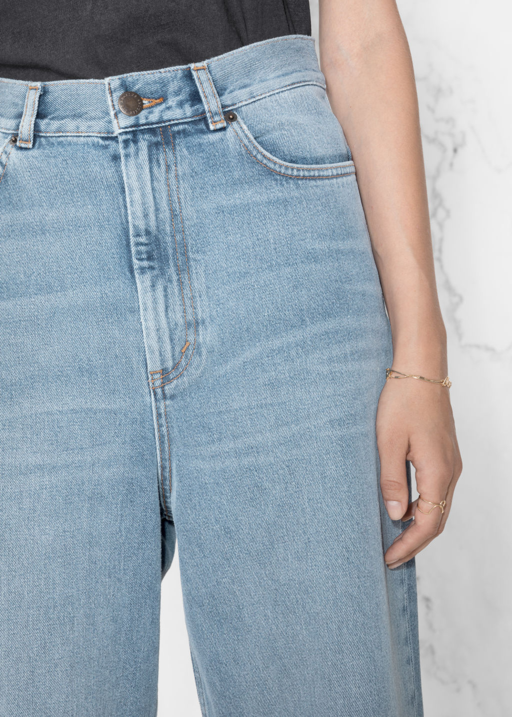 Detailed image of Stories wide leg denim jeans in blue